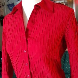 Croft & Barrow red striped womens blouse